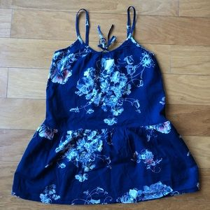 Anthropologie Cotton Nightgown Blue Floral Print